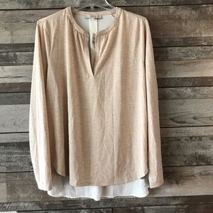 NWT Ann Taylor Loft blouse tan white Lg.
